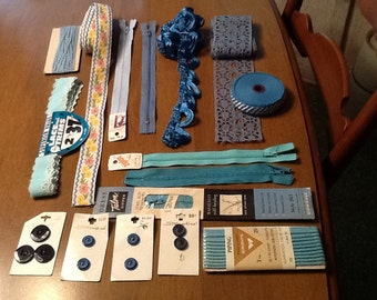 Inspirational bundle, Destash of trims and sewing supplies in blues