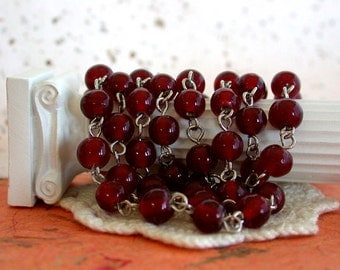 Rosary Chain, 7 to 7.5mm Rosary Chain, Beaded Chain, Dark Ruby Red Bead Chain, Bead Chain, Jewelry Chain CHN-111