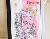 Dream Mini Journal in Pastel Colors with Image of Da Vinci Woman, Recording of Dreams, Pocket Notebook, Altered Composition Book