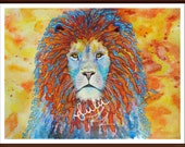 lion painting, original, water color, colorful, present gift, animal, nature