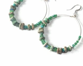 Seafoam Hematite HOOP Earrings, Silver Spring Hoops, St Pat's, Spring,Boho Style Hoop Earrings,Earring Sale, Gemstone Chip Hoops Sale