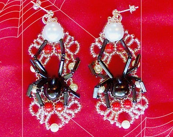 Brooding Black Widow beaded earrings/pendant pdf tutorial