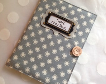 Photo Album Personalized Brag Book - Gray and White Dot Fabric-Holds 48 Pictures