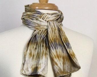 Hand Dyed Scarf Silk Charmeuse Arashi Shibori Gold Toffee Bronze Silver Gray