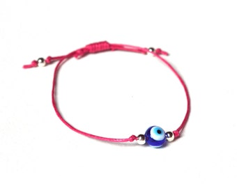 Raspberry Pink Bracelet, Evil Eye Bracelet, Pink String Jewelry, Slide Bracelet, UK Seller
