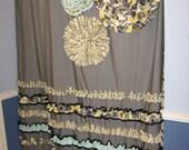 Shower Curtain Custom Made Designer Fabric Ruffles and Flowers Black, White, Gray, Light Yellow, Stripes, Dots, Teal, Turquoise, Aqua