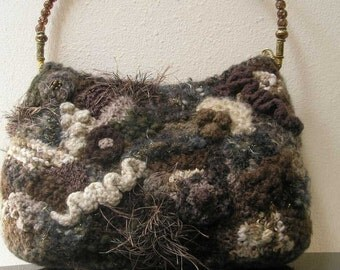 Brown and Tan Textured Hand Knit Freeform Purse