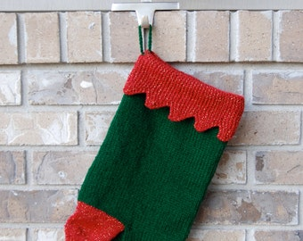 Forest green stocking, knitted Christmas stocking, zigzag cuff hand knit stocking, dark green stocking, knitted stocking forest green,