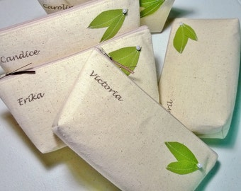Set of 7 - Eco-Friendly Bridesmaid Clutches, Green Wedding, Customizable, Personalized Clutch Purses, Bridesmaid Gift Idea