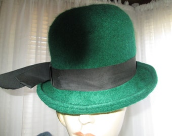 1960's Melosdie  Dark Green FELT HAT for Ladies With Black Band