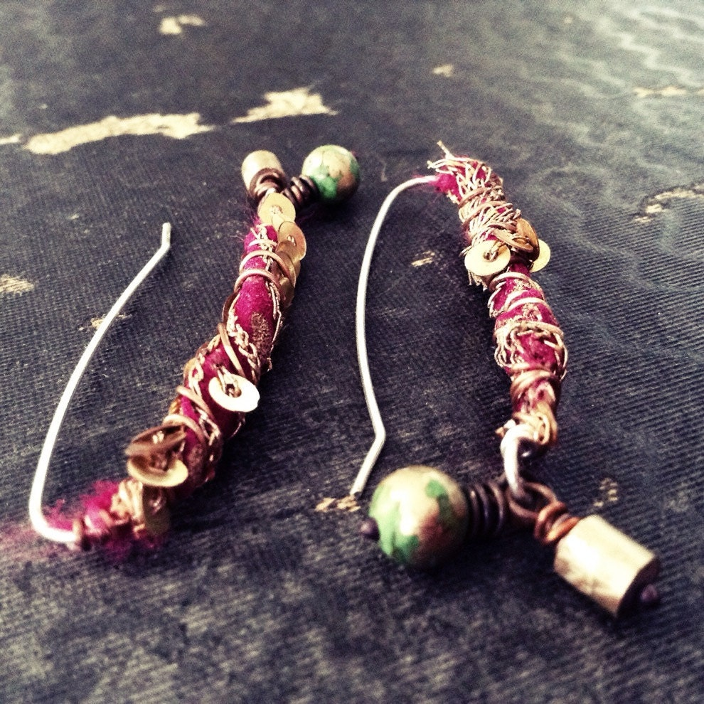 Silk Saree Beads: Bohemian Earrings With Deep Pink Sari Silk Wrapped Silver And