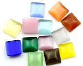 8mm Cabochons Assorted - 8x8mm - Cats Eye - 25pcs - Ships IMMEDIATELY from California - C237