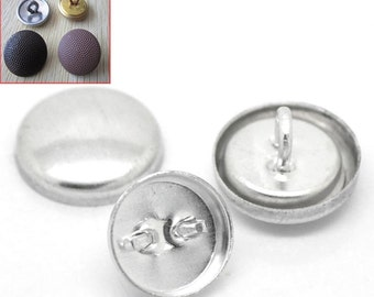 Aluminum Tone Coverable Metal Buttons - Shank Wire Back - 12mm - 50 Sets -  Ships IMMEDIATELY from California - A334