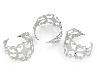 Silver Ring Settings Filigree Base Adjustable - 3pcs -  Ships IMMEDIATELY  from California - A364