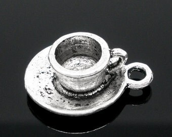 20 Coffe Charms - WHOLESALE - Antique Silver - Coffee Tea Cup - 19x15mm - Ships IMMEDIATELY from California - SC1043a