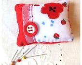 POPPY PIN CUSHION Appliqué Poppy Small Patchwork Pillow