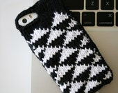Geo -  black and white geometric triangle print knit phone sweater case for iPhone