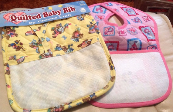 Two Quilted Cross Stitch Baby Bibs New By Pharohfans On Etsy