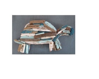 Small Painted Driftwood Turtle - Made to Order - Upcycled Beach Decor, Beach House, Beach, Nursery, Nautical, Jersey Shore