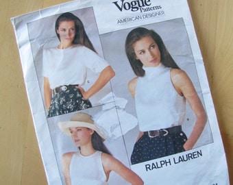 Vintage Vogue Sewing Pattern 1724 -  Ralph Lauren  -  Misses Top - Size 8