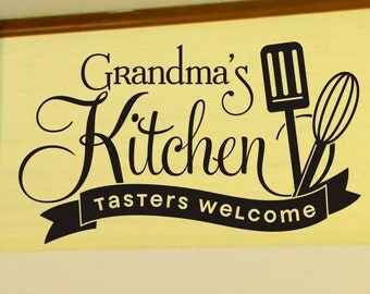 Kitchen Wall Decor Grandmas Kitchen Tasters Welcome Wall Decal with Spatula and Whisk Wall Sticker Dining Room Vinyl Lettering Decorations