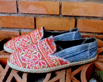 Embroidered Womens Loafers Vegan Shoe Ethnic Hmong Indigo Batik 12  - Morgan