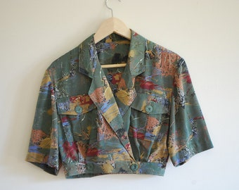 1980s Crop Short Sleeve Silk Jacket Bolero Blouse - Size 8 to 10