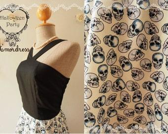 HALLOWEEN DRESS : black skull dress halloween party dress retro dress vintage inspired black dress White Skirt size S- ready to ship