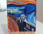 Cute mini Edvard Munch Scream Painting, Acrylic on Canvas