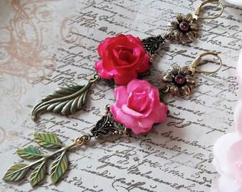 Asymmetrical Roses Leaves Vintage Pink Swarovski Connectors Handpainted Brass Earrings