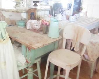 vintage stool  metal chair FREE SHIPPING shabby chic  chippy white and aqua