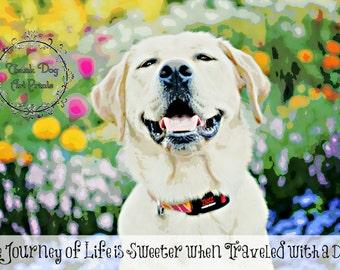 Yellow Labrador Retriever Dog Floral Digital Art Print
