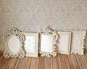 Shabby Chic PICTURE FRAMES WEDDING home Vintage Style white distressed  Photo Prop Frame Set with Glass Easel Back 5x7's