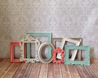 Vintage Style PICTURE FRAMES - mint - coral -  shabby chic - Wedding - Glass and Backing