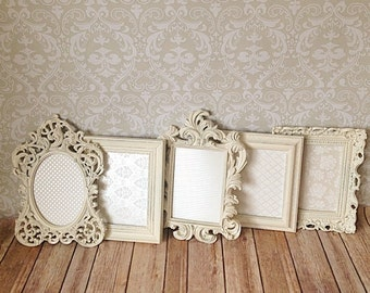 Reserved 10 Shabby Chic PICTURE FRAMES WEDDING home Vintage Style white distressed  Photo Prop Frame Set with Glass Easel Back 5x7's