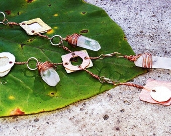 Industrial Tribal Tri Tones Quartz Crystal Necklace