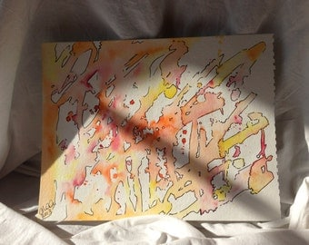 Warm Abstract 9x12 Watercolor and ink painting in oranges, reds and yellows