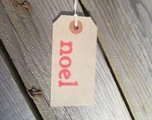 Christmas labels with red 'noel' - rustic noel tags - gift tags - typography tags - christmas product labels - xmas tags - etsy uk etsyuk