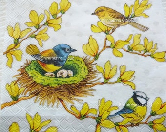 Birds, decoupage Napkins, Decoupage, Mixed Media, Scrapbooking, Collage, multicolor, white, yellow, blue, blue birds, branch, leaves