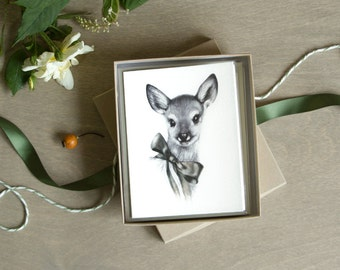 Fawn Card Set 6pc Cute Baby Deer A2 Note Cards Woodland Stationery