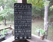 Primitive sign, Rustic sign, home decor, Lords prayer sign, sinage, wood sign, hand painted sign, distressed sign, inspirational sign, sign