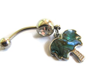Palm Tree Belly Ring, Blue Abalone Shell Tropical Belly Button Jewelry Paua Shell Bellybutton Ring