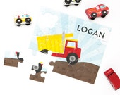 Personalized Puzzle for Boy - Dump Truck Puzzle - Personalized Kids Puzzle