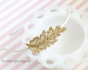 Gold Leaf Lace Headband, Silver Leaf Lace Headband, Bridal Headband, Bridesmaid Headband, Flower Girl Headband