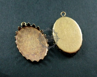 20pcs 18x25mm setting size one loop vintage style bronze crown oval bezel tray DIY pendant charm supplies 1421045