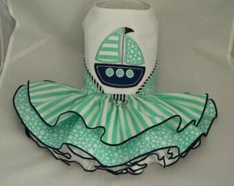 Dog dress.Nautical by Poshdog. Tutu skirt. Boat applique.