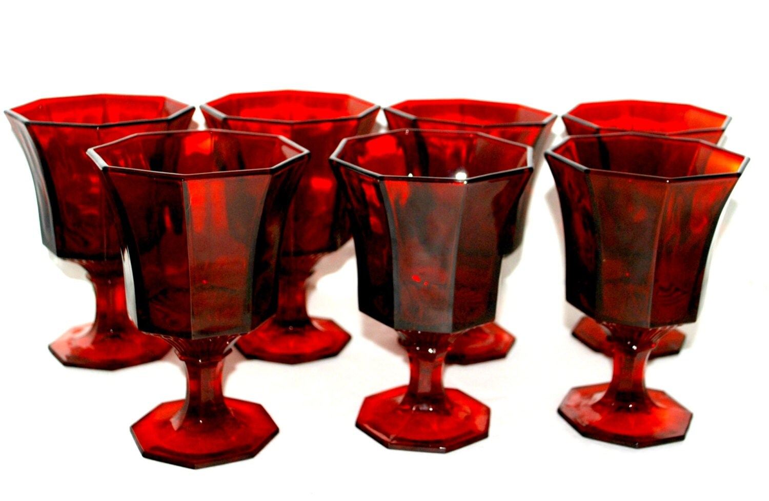 sale Ruby red glasses octagon paneled red glassware set of 7