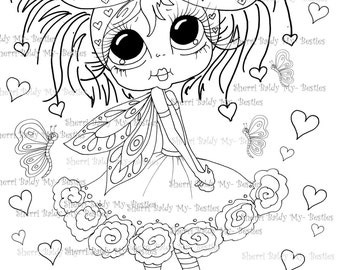 INSTANT DOWNLOAD Digital Digi Stamps Big Eye Big Head Dolls Digi   Besties Butterfly Baby By Sherri Baldy