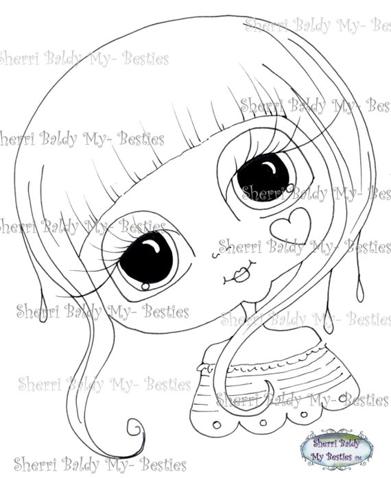 INSTANT DOWNLOAD Digital Digi Stamps Big Eye Big Head Dolls Lil Lovely Wisp One Lil Lovelies TM img106 Lil Lovely Hearts By Sherri Baldy