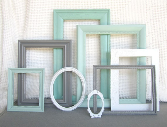 Mints Grey White Ornate Vintage Open Frames Set Of 8